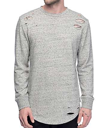 Ninth Hall Patton Destructed Natural Long Sleeve Knit Shirt