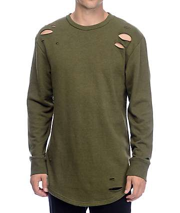 Ninth Hall Patton Destructed Olive Long Sleeve Knit Shirt