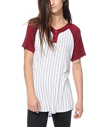 Ninth Hall Pedro Burgundy Baseball T-Shirt