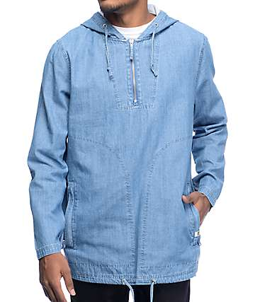 Ninth Hall Prepped Blue Denim Anorak Pullover Shirt