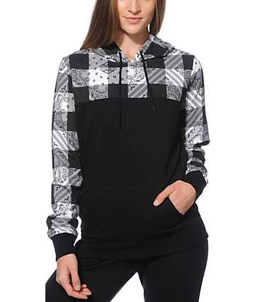Ninth Hall Rick Black & White Plaid Bandana Hoodie