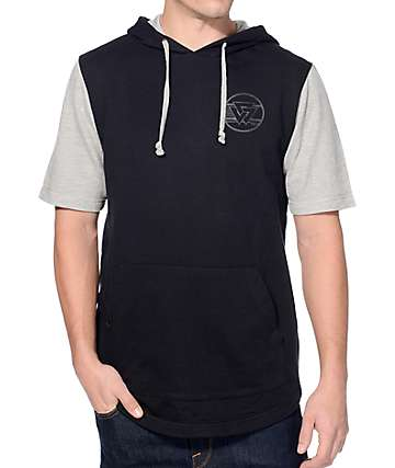 Ninth Hall Roam Free Black & Wolf Grey Short Sleeve Hoodie