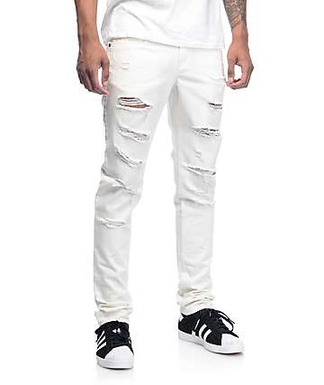 Ninth Hall Rogue jeans rotos en color crema