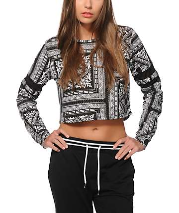 Ninth Hall Shorty Bandana Crop Crew Neck Sweatshirt