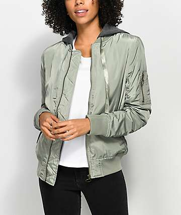 Ninth Hall Solene Green Hooded Bomber Jacket