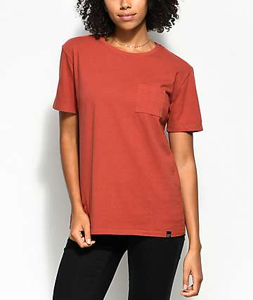 Ninth Hall Steph Dark Orange Pocket T-Shirt