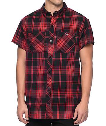 Ninth Hall Suzeey Red & Black Short Sleeve Flannel Shirt