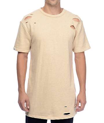 Ninth Hall Torn Destructed Sand Knit Shirt