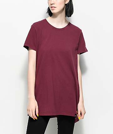 Ninth Hall Tully Slit Oversized Burgundy T-Shirt