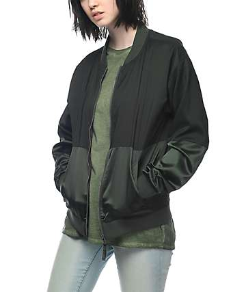 Ninth Hall Zaila Satin Sage Bomber Jacket