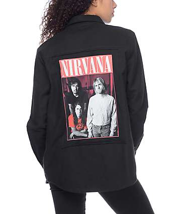 Nirvana Black Woven Button Up Shirt
