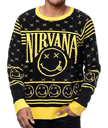 Nirvana Smiley Black & Yellow Pattern Sweater