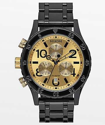 Nixon 38-20 Black & Gold Chronograph Watch