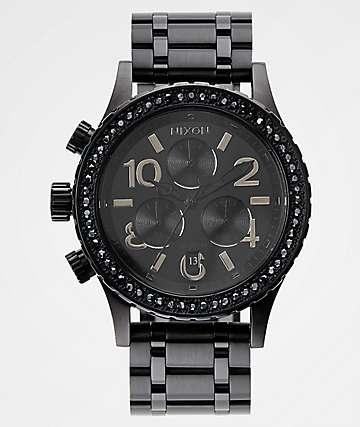 Nixon 38-20 Black Crystals Chronograph Watch