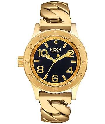 Nixon 38-20 Chain Gang Black & Gold Analog Watch