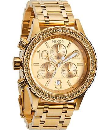 Nixon 38-20 Chrono All Gold Crystal Watch