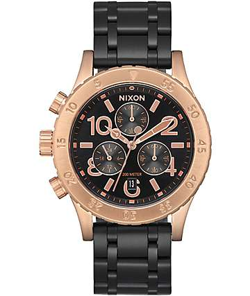 Nixon 38-20 Chrono Black & Rose Gold Analog Watch