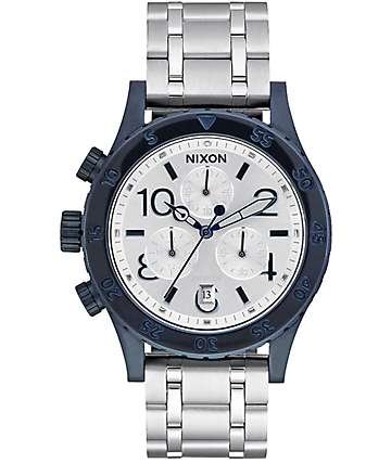 Nixon 38-20 Chrono Navy & Silver Analog Watch