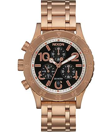 Nixon 38-20 Chrono Rose Gold & Black Watch