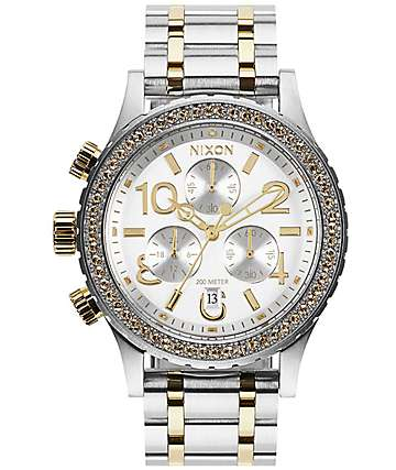 Nixon 38-20 Chrono Silver & Gold Watch