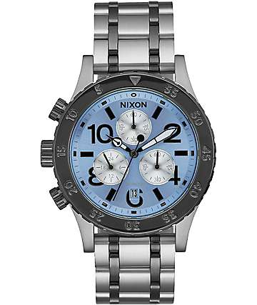 Nixon 38-20 Chrono Silver & Sky Watch