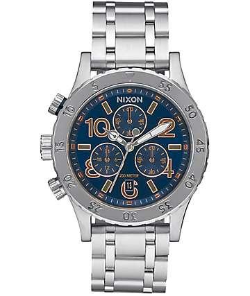 Nixon 38-20 Chrono reloj en plata y azul marino