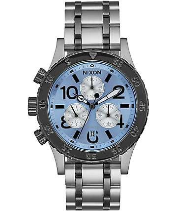 Nixon 38-20 Chrono reloj en plata y cielo