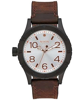 Nixon 38-20 Leather Black, Silver & Brown Watch