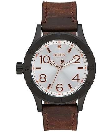 Nixon 38-20 Leather Black, Silver & Brown Watch