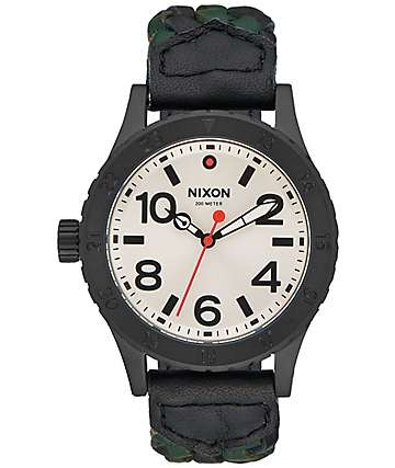 Nixon 38-20 Leather Black & Forest Watch