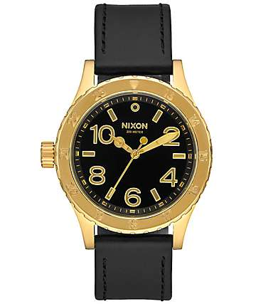 Nixon 38-20 Leather Gold & Black Analog Watch