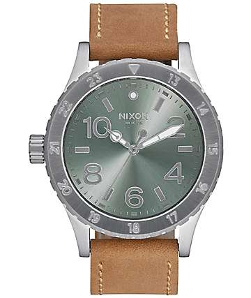 Nixon 38-20 Leather Saddle & Sage Analog Watch
