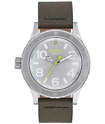 Nixon 38-20 Leather Silver & Surplus Analog Watch