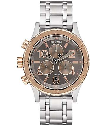 Nixon 38-20 Silver, Rose & Taupe Chronograph Analog Watch