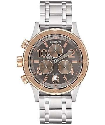 Nixon 38-20 Silver, Rose & Taupe Chronograph Analog Watch