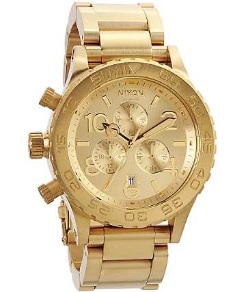 Nixon 42-20 All Gold Chronograph Watch