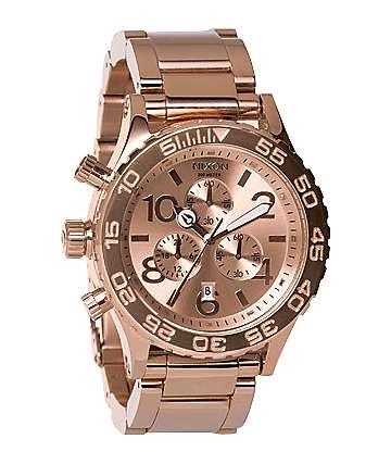 Nixon 42-20 All Rose Gold Chronograph Watch