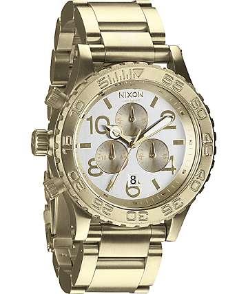 Nixon 42-20 Champagne Gold Chronograph Watch