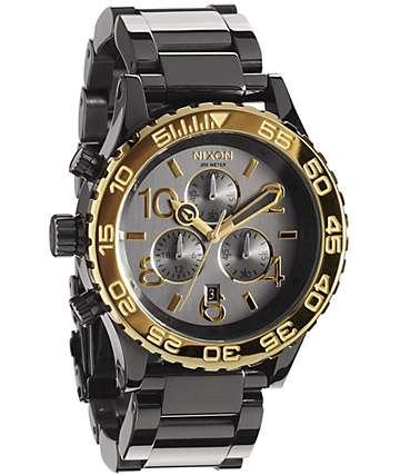 Nixon 42-20 Gun & Gold Chronograph Watch