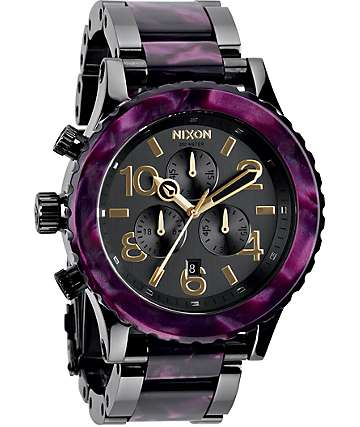 Nixon 42-20 Gunmetal & Velvet Chronograph Watch