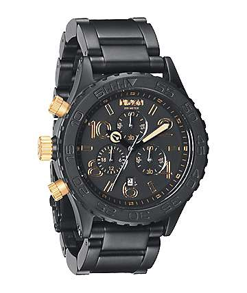 Nixon 42-20 Matte Black & Gold Chronograph Watch