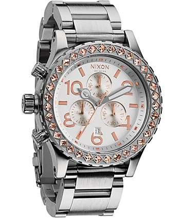 Nixon 42-20 Silver & Champagne Crystal Chronograph Watch