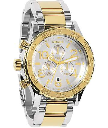 Nixon 42-20 Silver & Champagne Gold Chronograph Watch