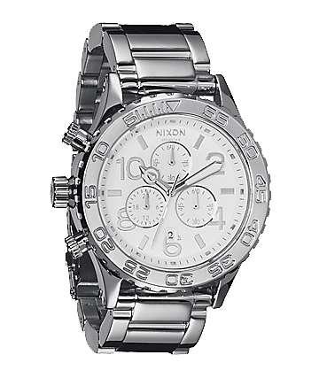 Nixon 42-20 Silver High Polish Chronograph Watch