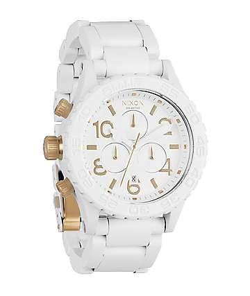 Nixon 42-20 White & Gold Chronograph Watch
