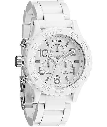 Nixon 42-20 White & Silver Chronograph Watch