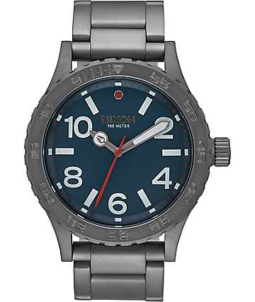 Nixon 46 All Gunmetal & Dark Blue Watch