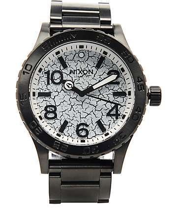 Nixon 46 SS Black & Crackle Analog Watch