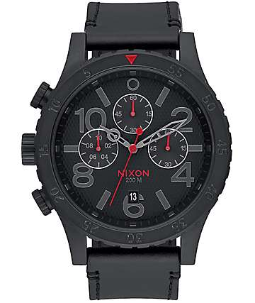 Nixon 48-20 Chrono All Black & Stamped Leather Analog Watch