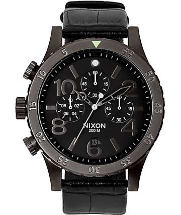 Nixon 48-20 Chronograph Leather Watch